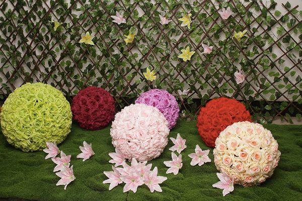 Artificial Rose Flower Balls Stimulation Plastic Flower Balls Wedding Room Parties Decoration Road Lead Seven Colors