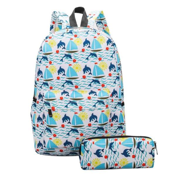 2pcs/Set Cute Printed Women Canvas School Bags Travel Backpacks Pencil Case Korean Style Students Travel Bag Laptop Backpack