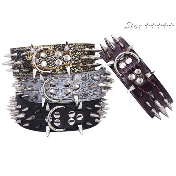 Wholesale-2inch breite scharfe Spikes verzierte Horn-Nagel-Halsketten für Pitbull Mastiff GRÖSSE (M L) Freies Verschiffen