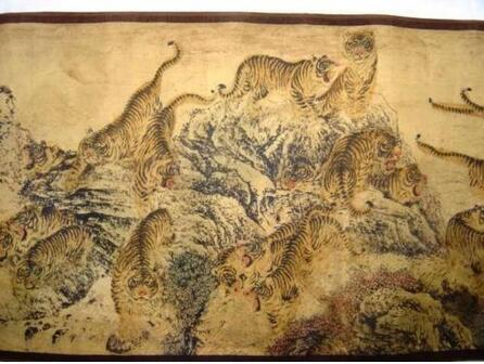 Superb Chinese Painting Scroll Of Hundred Tigers