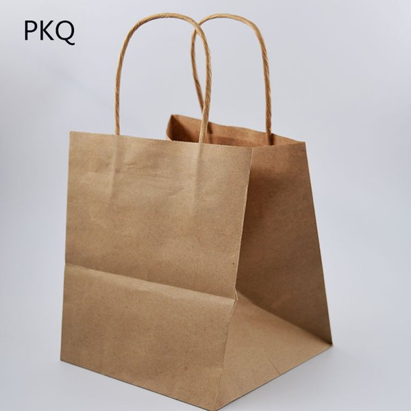 10pcs Free Shipping White Kraft paper bag Small gift bags with handles Baking Bread/Cookie/Cake packaging bags Storage Pouches