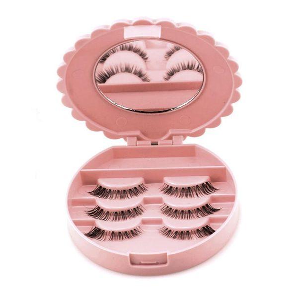 2017 Best Quality Cute Bow False Eyelash Storage Box Makeup Cosmetic Mirror Case Organizer Organizador Household Organizer