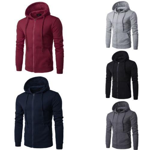 Mens Sport Jacket 2018 New Autumn Winter Solid Zip Sweater Hoodie Sweatershirt Hooded Coat Workout Joggers Running Jackets L-3XL