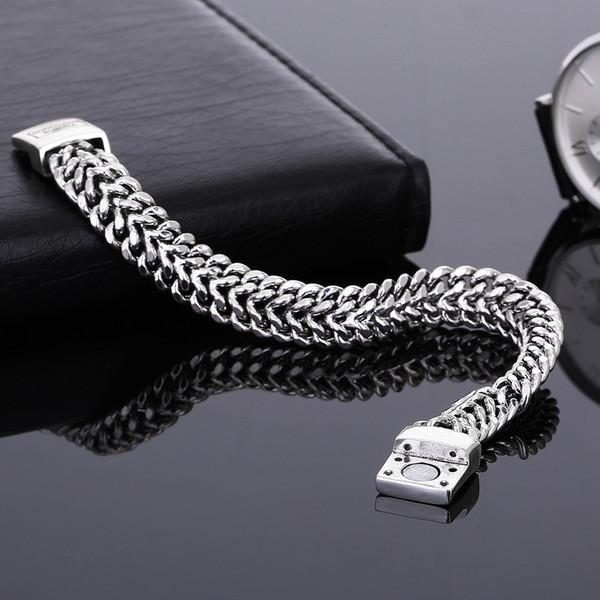 Moda de plata antigua Punk 11.5 mm ancho brazalete de buda para las mujeres diy brazalete encantos pulseras hombres pulseira regalo de la joyería