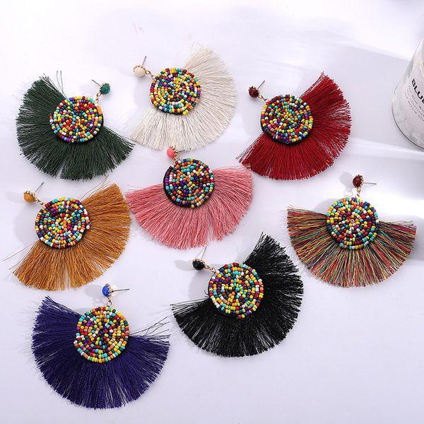 Perline Orecchini Nappa per le donne etniche geometriche lunghe ciondola nero Charms Matrimonio Boho Acessorios orecchini