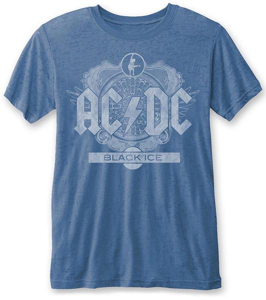 Maglietta Burnout AC / DC 'BLACK ICE' (Blu) - NUOVO E ORIGINALE