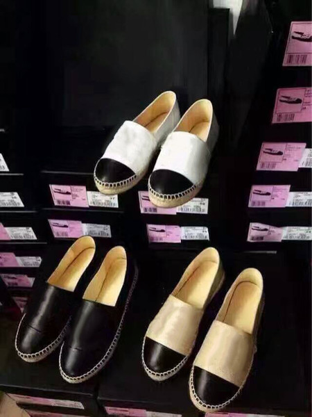 With box Women Brand New Leather Canvas pearls Lambskin Espadrille Top Quality Women Flats loafers Shoes Pearl Espadrilles Size 34-42