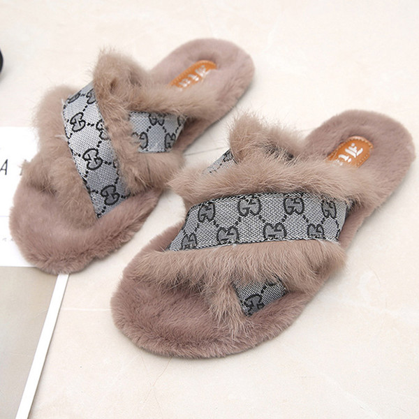 Cross Fur Slippers Female 2018 Winter New Rabbit Fur Flat Wear Outside Wild Women  Slippers Fashion Shoes Woman At Home 891b42e25169