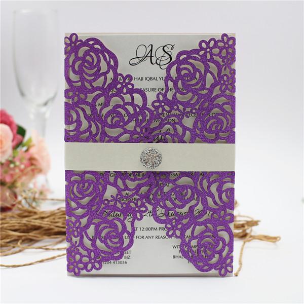 50 pcs glitter convites de casamento com diamante barriga banda 2019 roxo ouro prata azul corte a laser kits de convite de casamento por dhl