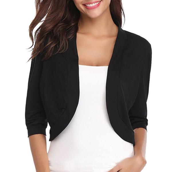 Big Size Cropped Jacket Shrugs For Women Short Sleeve Black Cotton Bolero Coats Ladies Elegant Casual Autumn Jackets Coats 5XL