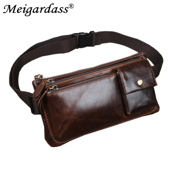 MEIGARDASS Genuine Leather Men Vintage Riding Motorcycle Hip Bum Belt Waist Bag Travel Fanny Pack Purse Clutch Bag Phone Pouch
