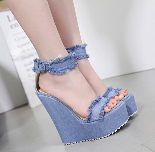 15cm Denim Blue Cloth High Platform Wedge Heels Women Summer Shoes 2018 Size 35 To 40