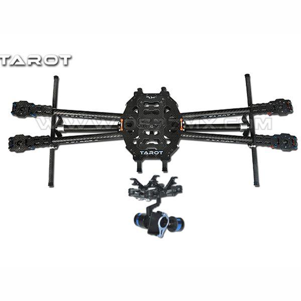 Tarot FY650 3 K Fibra De Carbono Puro Dobrável 650mm FPV Quadcopter Quadro TL65B01 com 2 Eixos BGC TL68A00 Cardan Brushless T-2D