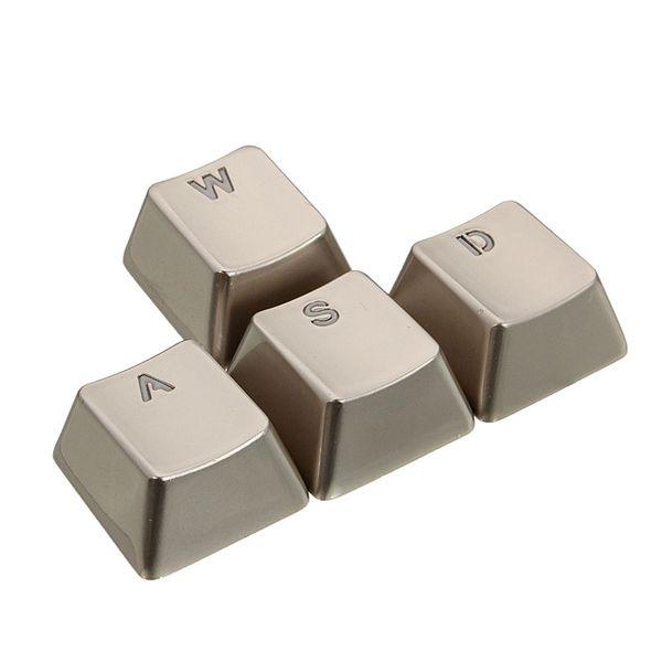4 pcs En Alliage de Zinc Porte-clés Transmission de la Lumière pour Mécanique Clavier Axe MX Argent Métal Porte-clés Keypress Transparent WASD