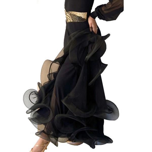 Dança de Salão Saias elegantes 7 Cores Mulheres Dança saia com Fish Bone Hem Flamenco Saias D0530 Preto Azul Roxo Vermelho