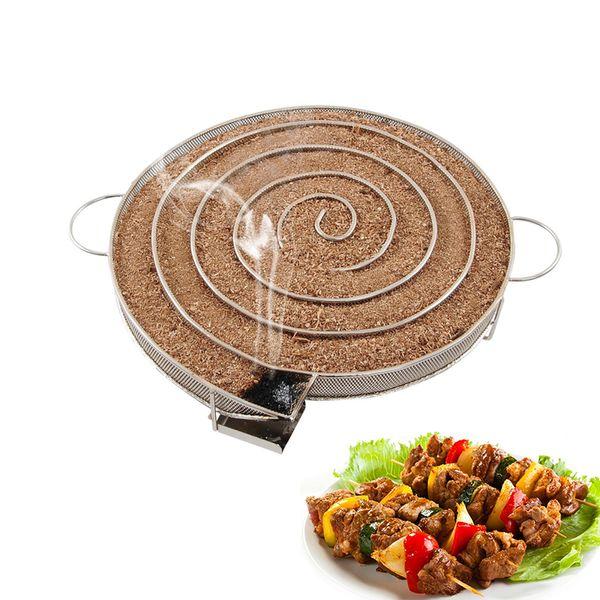 Generador de humo frío de acero inoxidable Accesorios de la parrilla de barbacoa Fumador redondo con manzana Pequeñas fichas de madera Parrilla Bacon Fish