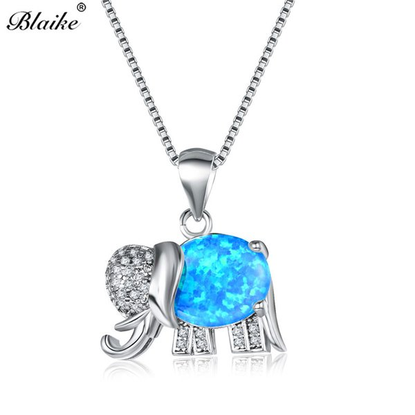 Blaike Female Rainbow Elephant Pendants 925 Sterling Silver Blue/White Fire Opal Necklaces For Women Crystal Birthstone Choker