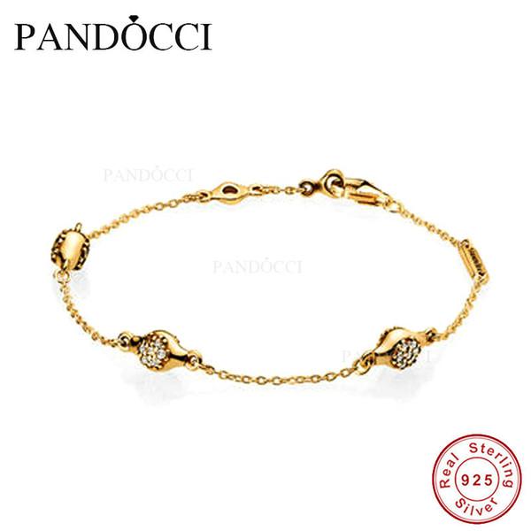 PANDOCCI Modern LovePods Bracelets avec Clear CZ 100% en argent Sterling Bijoux 2018 Collection Per-Autumn