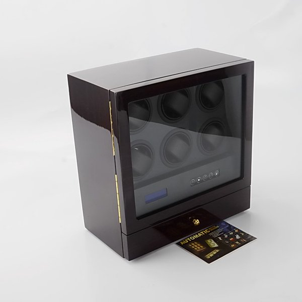 LED Light 6 watch winder super silenzioso motori touch screen Telecomando wireless display cassa di legno 2 stoccaggio