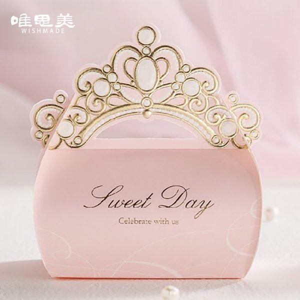 Rosa 12 unids / lote Corona de la Hoja de Oro Brillante Dulces Caja de La Boda de La Boda Decoraciones de La Boda Regalos Del Favor Del Día de San Valentín Suministros CB6072