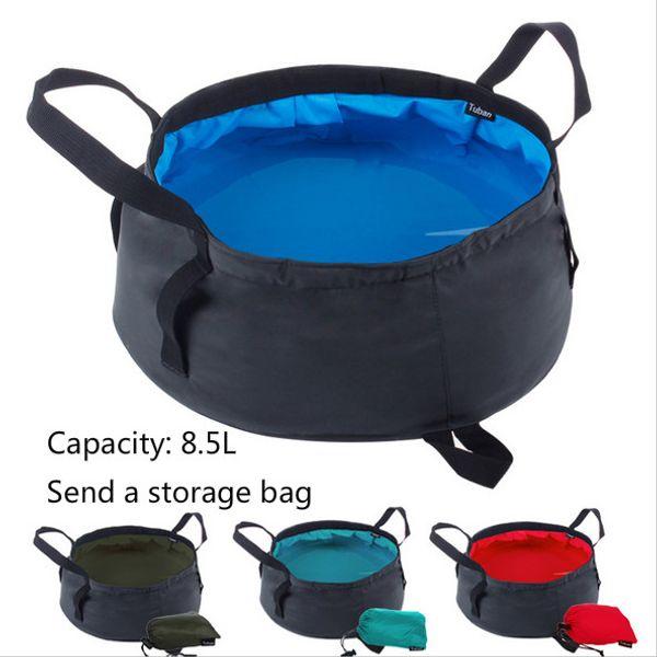 8.5L Portable Ultra-light Folding Water Packs Storage Washbasin Bucket Outdoor Hiking Camping Fishing Washing Basin Survival Tool NY005