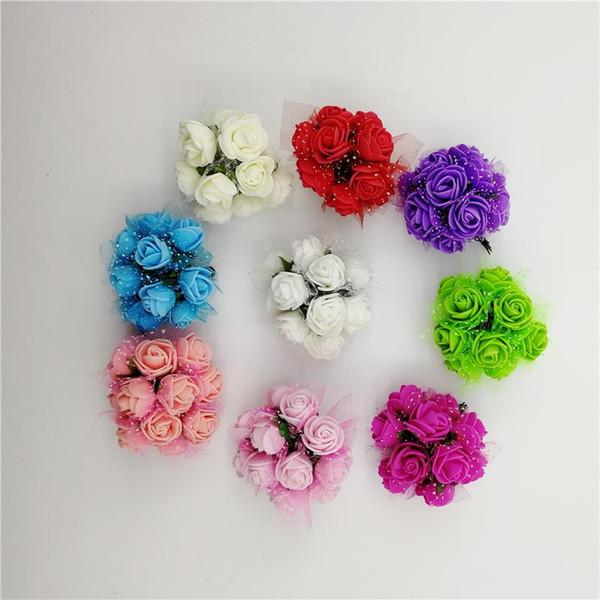 144pcs/Set Simulation Mini Rose Artificial flower PE foam flower Head garland headdress wedding decoration Bridal Flowers