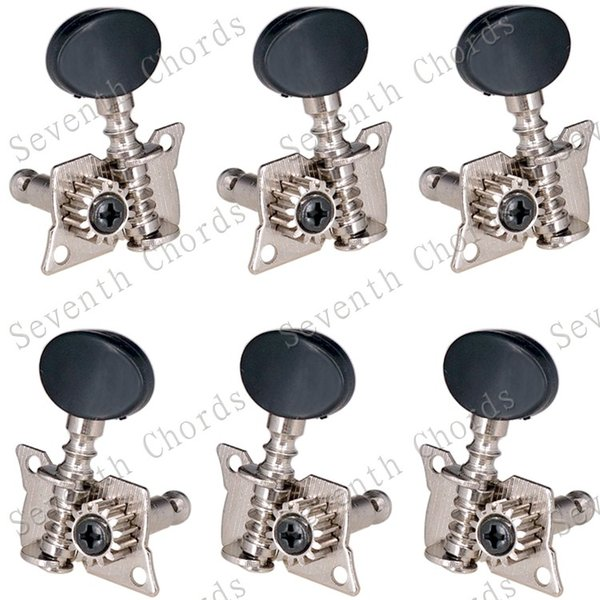 A Set 3R3L Chorme Opened Tuning Pegs Keys Machine Heads Tuners For Acoustic Folk Classical Guitar With Black Small oval Knobs