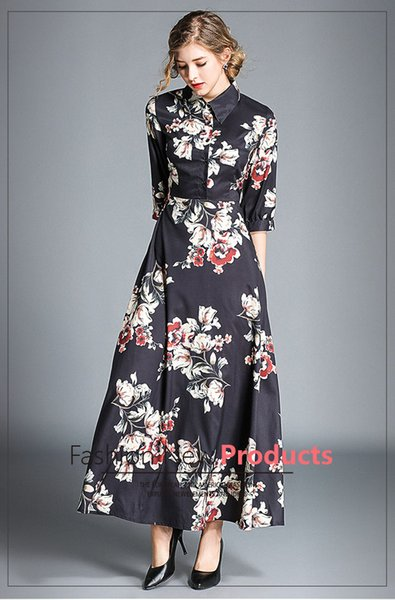 Autumn and Winter Printing Dresses,Lapel Neck,3/4 length Sleeve,Waist Sliming Style,One Colour