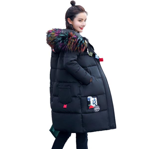 Inverno Longo Acolchoado de Algodão Feminino Coreano Grosso Com Capuz Selvagem Plus Size Grande Gola De Pele Solta Jaqueta Maré Jaqueta Feminina MZ1834