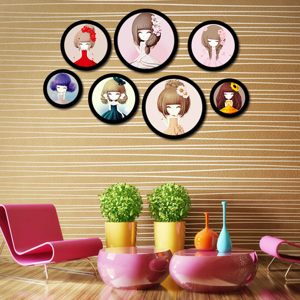 Creative Solid Wood Photo Frame Round Modern Combination Hanging Type Picture Frame DIY Wall Photo Home Art Decoration