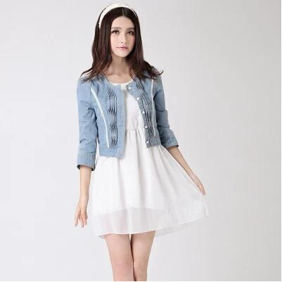 Wholesale- outwear jeans plus size women clothing 2017 sping and autumn short design pearl diamond denim jacket female coats