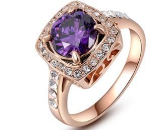 Romantic Women fashion jewelry purple diamond rose gold Austrian Crystal ring bride wedding marriage Christmas festival gift love