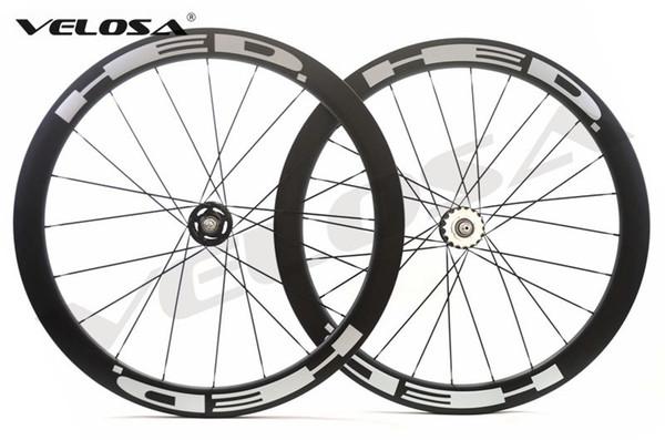 Velosa super sprint 50 HED track bike carbon wheelset,700C 50mm clincher/tubular,fixed gear street bike carbon wheel