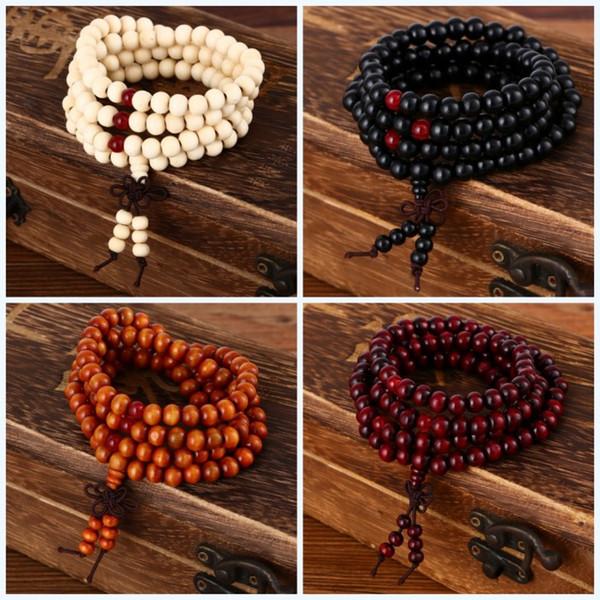 пульсеры лук 108 бусин 8 мм натуральный сандалового дерева буддийский Будда дерево молитва шарик мала унисекс мужчины черный прядь браслеты браслеты ювелирные изделия bijoux