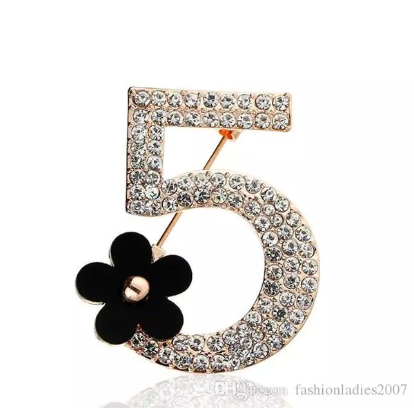 Hot New Brand Brooches Letter 5 Full Crystal Rhinestone Brooch Pins For Women Party Flower Number Five Brooches Jewelry