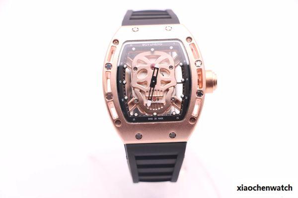 BOYUHENG 052 cool watch man gold skull dial man's brown rubber brown/white Circle gold steel case quartz watch