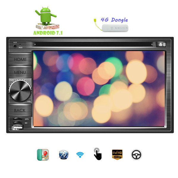 "4G Dongle+Android 7.1 System Octa-Core Car DVD Player 6.2"" Double Din Touchscreen In Dash Bluetooth Car Stereo MP3 Audio 1080P Video"
