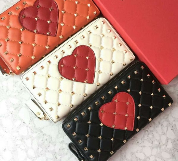 2018new zipper wallets name card hearts special women high fashion genuine leather material diamond lattice metallic full start rivet clutch