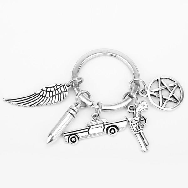 dongsheng Supernatural Key Chains Dean Winchester Jensen Pentagram Car Gun Charms Pendants Keychain Key Rings llaveros