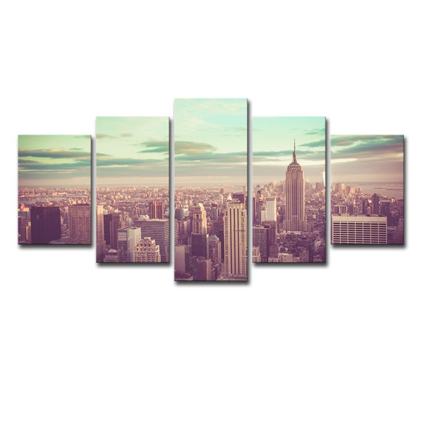 Canvas Paintings Home Decor Framework HD Prints 5 Pieces New York City Pictures Building Landscape Posters Living Room Wall Art