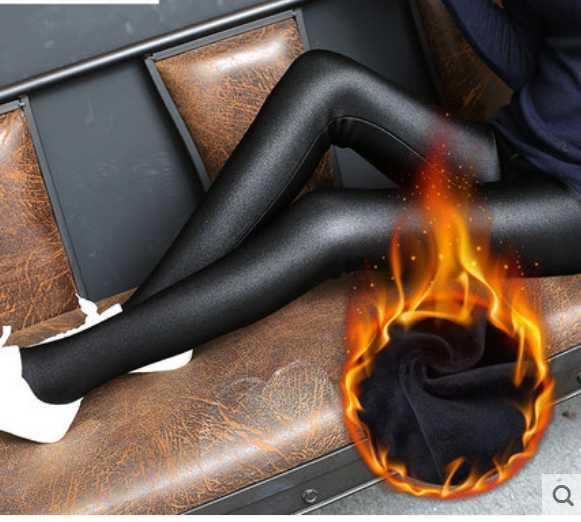 Large size plus velvet shiny pants high waist leggings female autumn and winter one stepping foot pants fat outside wearing thick warm pants