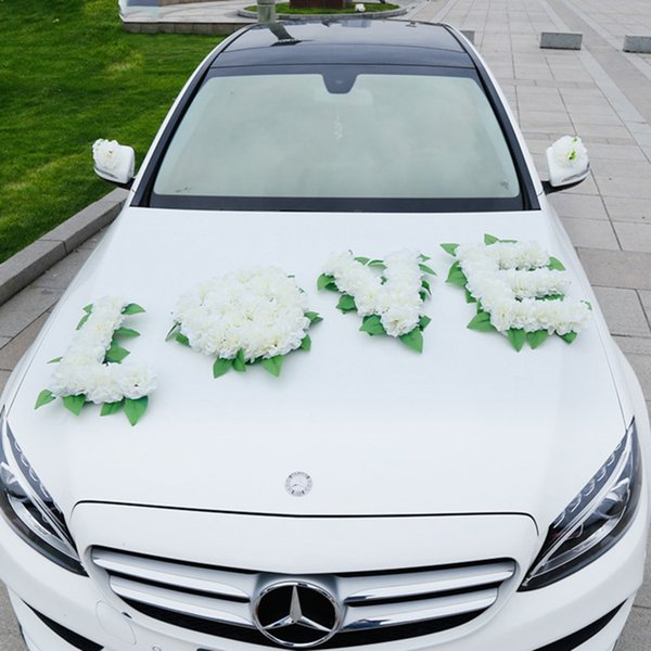 Online cheap white wedding car decorations artificial flowers set white wedding car decorations artificial flowers set wedding party silk flowers car bouquet wedding home decoration junglespirit Gallery