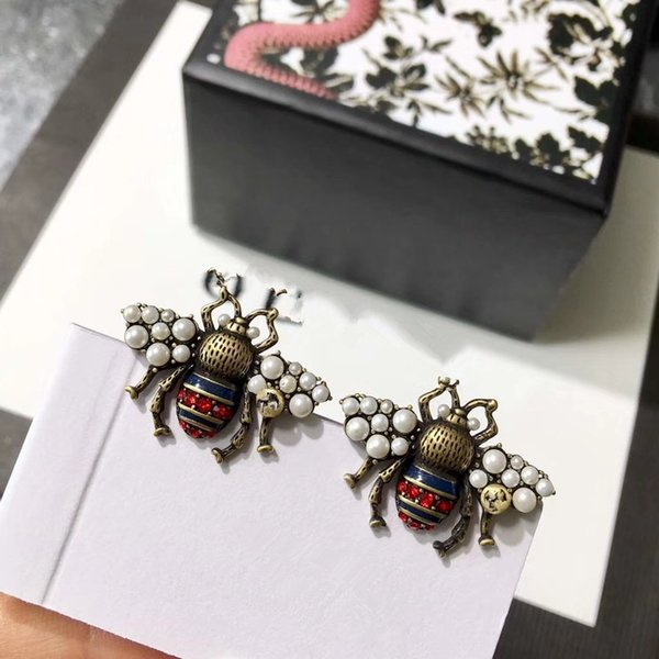 Fashion Brand Jewelry Pearl Wing Bee Stud Earrings Pearl Stud Earrings Brass Vintage High Quality