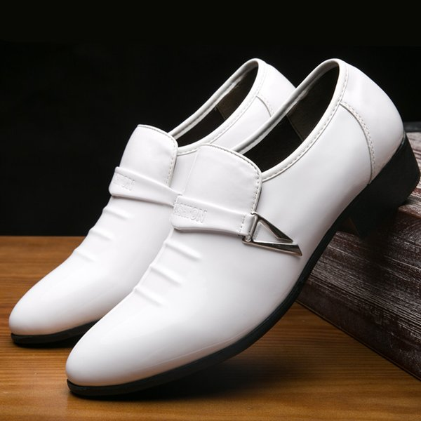 Fashion men white leather wedding shoes comfortable casual shoes solid color flat heel dress shoes for business occasion
