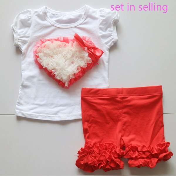 Hand Made Baby Gift Girls Outfit Set WholesaleToddler Heart Pattern White Shirt Red Short Icing Legging Tights