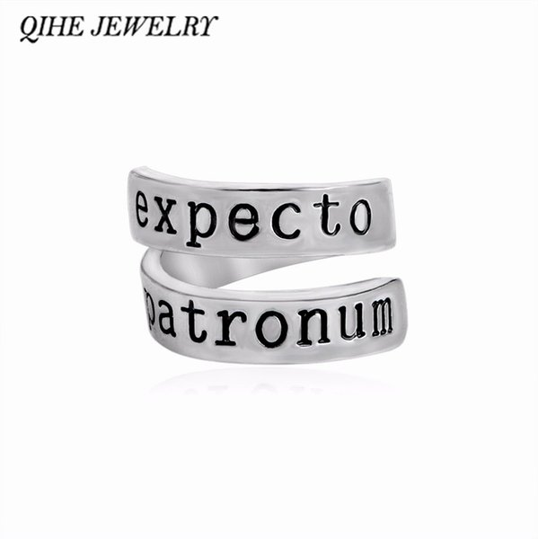 Expecto Patronum Magic Book Inspired Twist Geeky Ring Hand Stamped Letter Women Men JEWELRY Gift anillo anello haif
