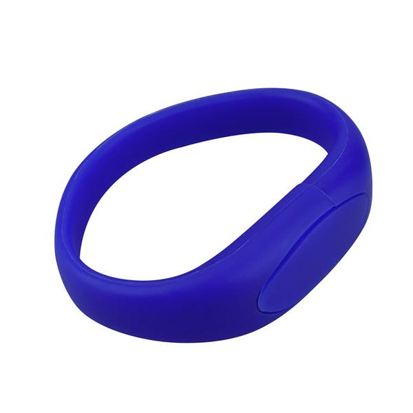 Blue Silicon Wristband Design 8GB 16GB 32GB 64GB USB 2.0 Memory Stick USB Flash Drives Thumb Pen Drives for PC Laptop Tablet Thumb Storage