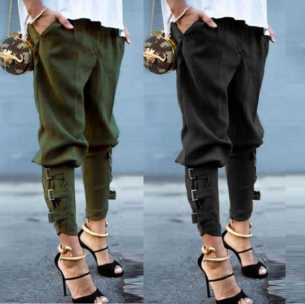 Unique Fettered Leg Harem Pants Army Green for Women Preself New Fall Arrival Ladies Fashion Design Loose Trousers Pants Korea Style