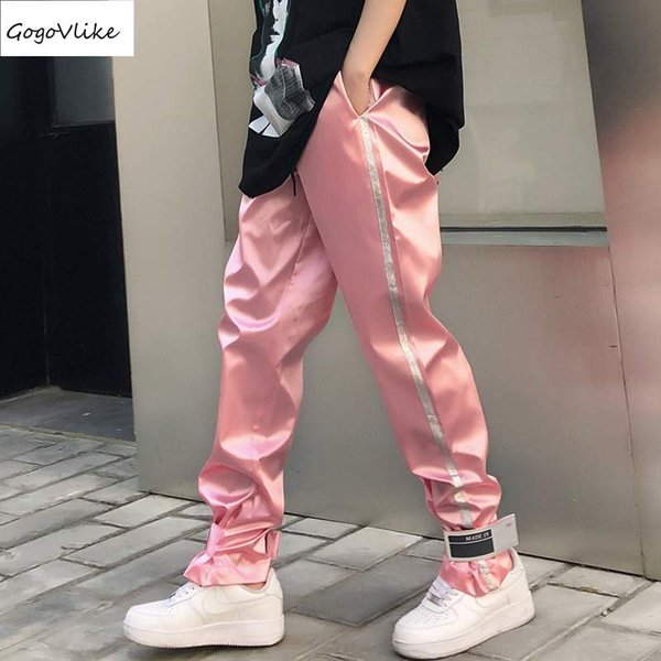 Pluderhosen Rosa / Schwarz / Silber Lässig 2018 Frauen Hip Hop Hosen Oversize baggy Hose Student Frauen Kleidung Abzeichen LT467S30