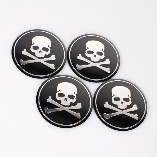 4pcs/set Cross Bone Skull Head Car Styling Aluminum alloy Center Wheel Cover Labeling Emblem Car Sticker Badge